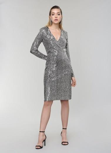People By Fabrika Kruvaze Payet Abiye Elbise Gümüş